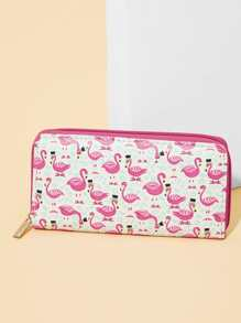Flamingo Print Zipper Around Purse