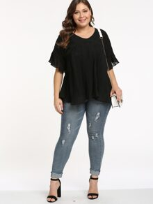 Plus Pleated Ruffle Chiffon Blouse