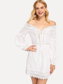 Lace Trim Eyelet Embroidered Bardot Dress
