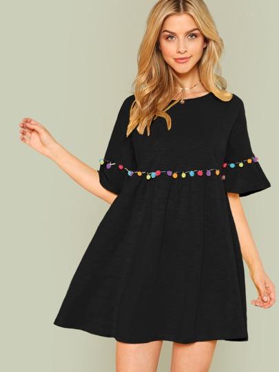 550fc0a324 Pompom Embellished Flounce Sleeve Dress