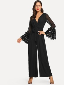 Sequin Bell Sleeve Wide Leg Jumpsuit