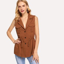 Brown Casual Plain Pocket Fabric has some stretch Spring Outerwear, size features are:Length: Regular,