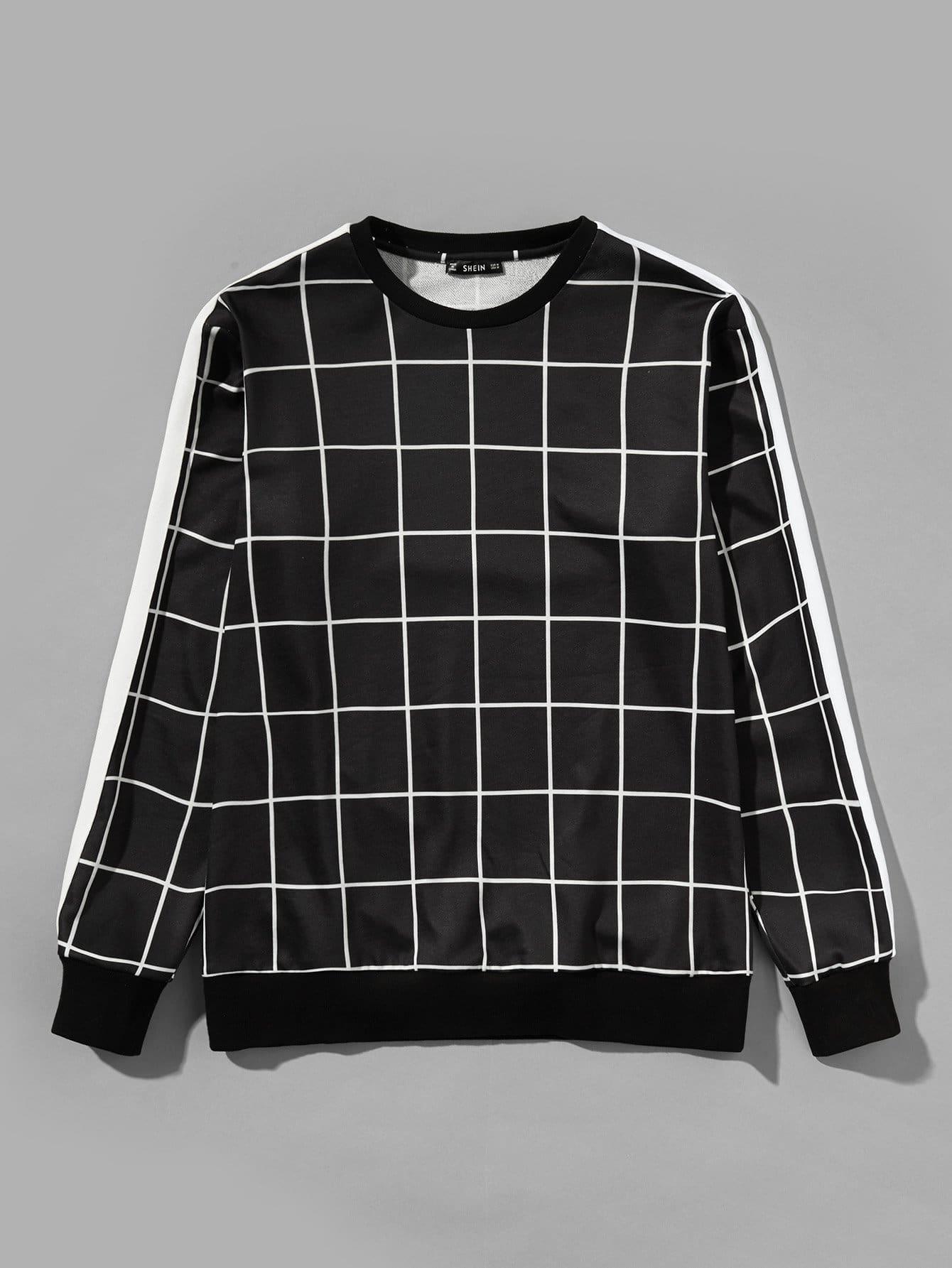 Men Plaid Print Pullover Men Plaid Print Pullover