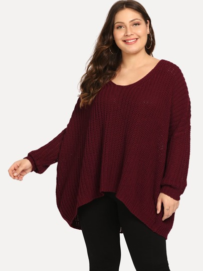 Plus Drop Shoulder Eyelet High Low Sweater