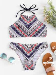 Floral Print Top With Seam Bikini Set