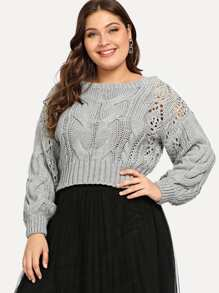 Plus Eyelet Detail Textured Crop Sweater