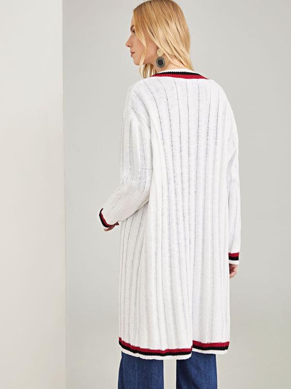 a824cbbe98 Open Front Striped Trim Longline Cardigan   SHEIN