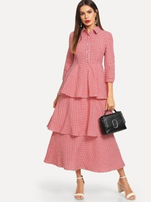 Plaid Layered Button Front Dress