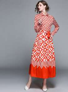 Geometric Print Pleated Dress