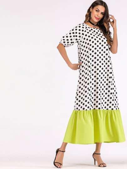 f0b96a544c502 فستان بأكمام طويلة مع نقاط البولكا
