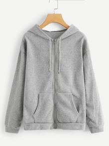 Solid Zip Up Hooded Jacket