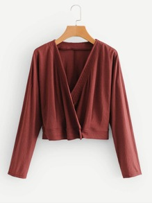 Solid Cropped Wrap Blouse
