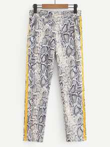 Tape Side Snakeskin Print Pants