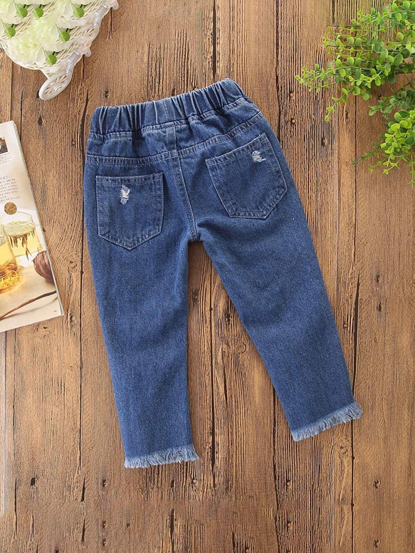 m dchen zerrissene jeans mit schn ren vorn german shein sheinside. Black Bedroom Furniture Sets. Home Design Ideas