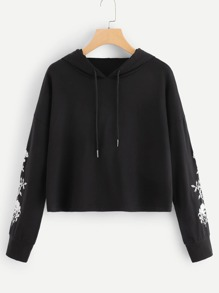 Embroidered Drawstring Hooded Sweatshirt