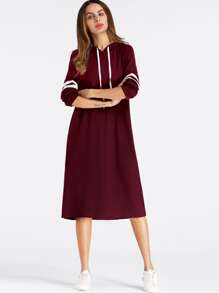 Varsity Striped Hooded Sweatshirt Dress