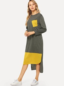 Pocket Panel Dip Hem Dress