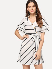 Striped Single Breasted Belted Dress