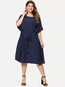 Plus Butterfly Sleeve Tie Waist Dress