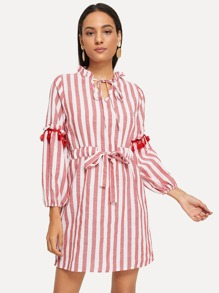 Drawstring Waist Tassel Detail Stripe Dress