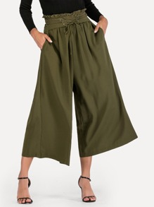 Frill Trim Lace Up Waist Wide Leg Pants
