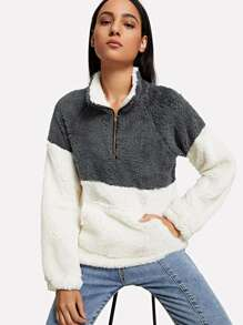 Kangaroo Pocket Drop Shoulder Color Block Teddy Sweatshirt