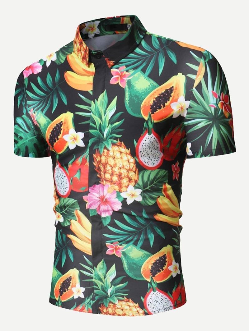 procesos de tintura meticulosos último diseño comprar baratas Camisa de hombres con estampado de zona tropical