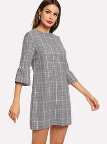 Glen Plaid Faux Pearl Beading Tunic Dress