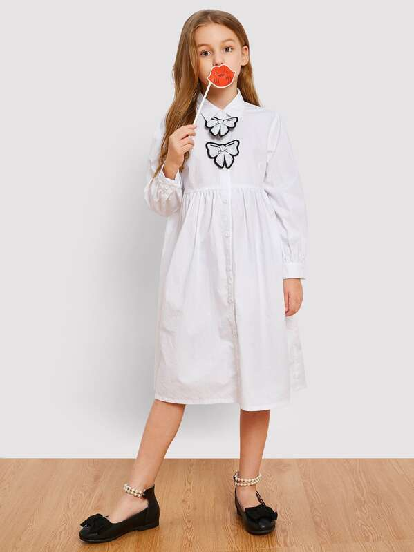 Girls Button Up With Patched Detail Shirt Dress