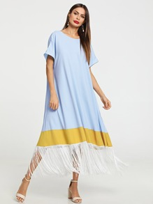 Fringe Hem Color Block Trapeze Dress