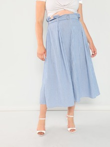Plus Box Pleated Pinstriped Skirt With Belt
