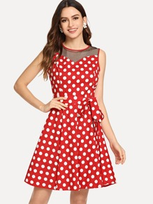 Mesh Contrast Waist Knot Polka Dot Dress