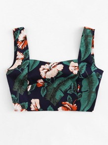 Square Neck Tropical Print Top