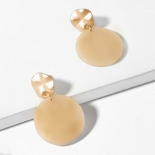 Textured Disc Round Drop Earrings