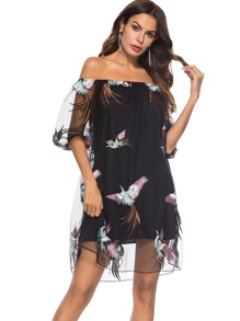 Off Shoulder Animal Embroidered Dress