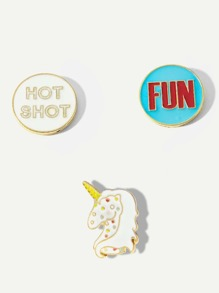 Round & Unicorn Brooch Set 3pcs