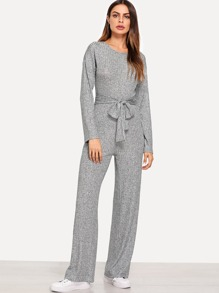 Self Belted Ribbed Jumpsuit