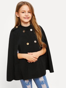 Girls Double Button Solid Cape Coat