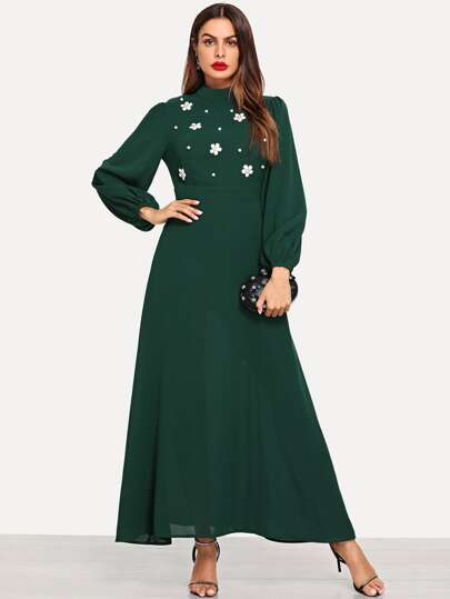 Flower Applique Lantern Sleeve Dress