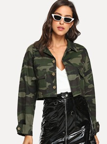 Button Front Crop Camo Jacket