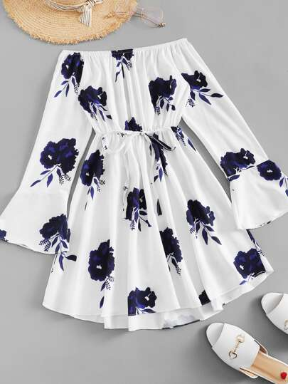 Flounce Sleeve Drawstring Waist Floral Dress