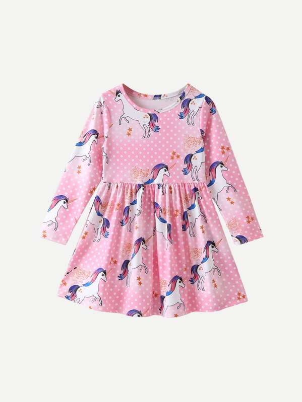 68352c21d5d5 Toddler Girls Unicorn Print Polka Dot Dress | SHEIN UK