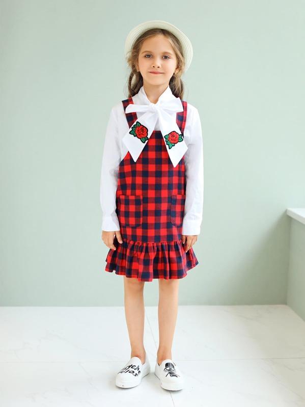 264ec8651ea7 Toddler Girls Ruffle Hem Plaid Pinafore Dress | SHEIN