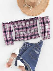 Plaid Off The Shoulder Blouse