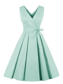 Solid V Neck Belted Dress