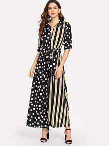 Striped Polka Dot Belted Dress