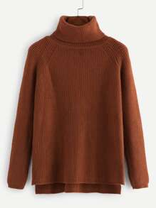 High Neck Raglan Sleeve Ribbed Sweater