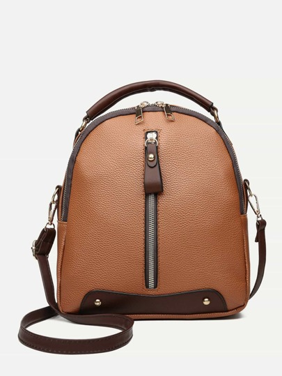 Zip Front Curved Top Backpack