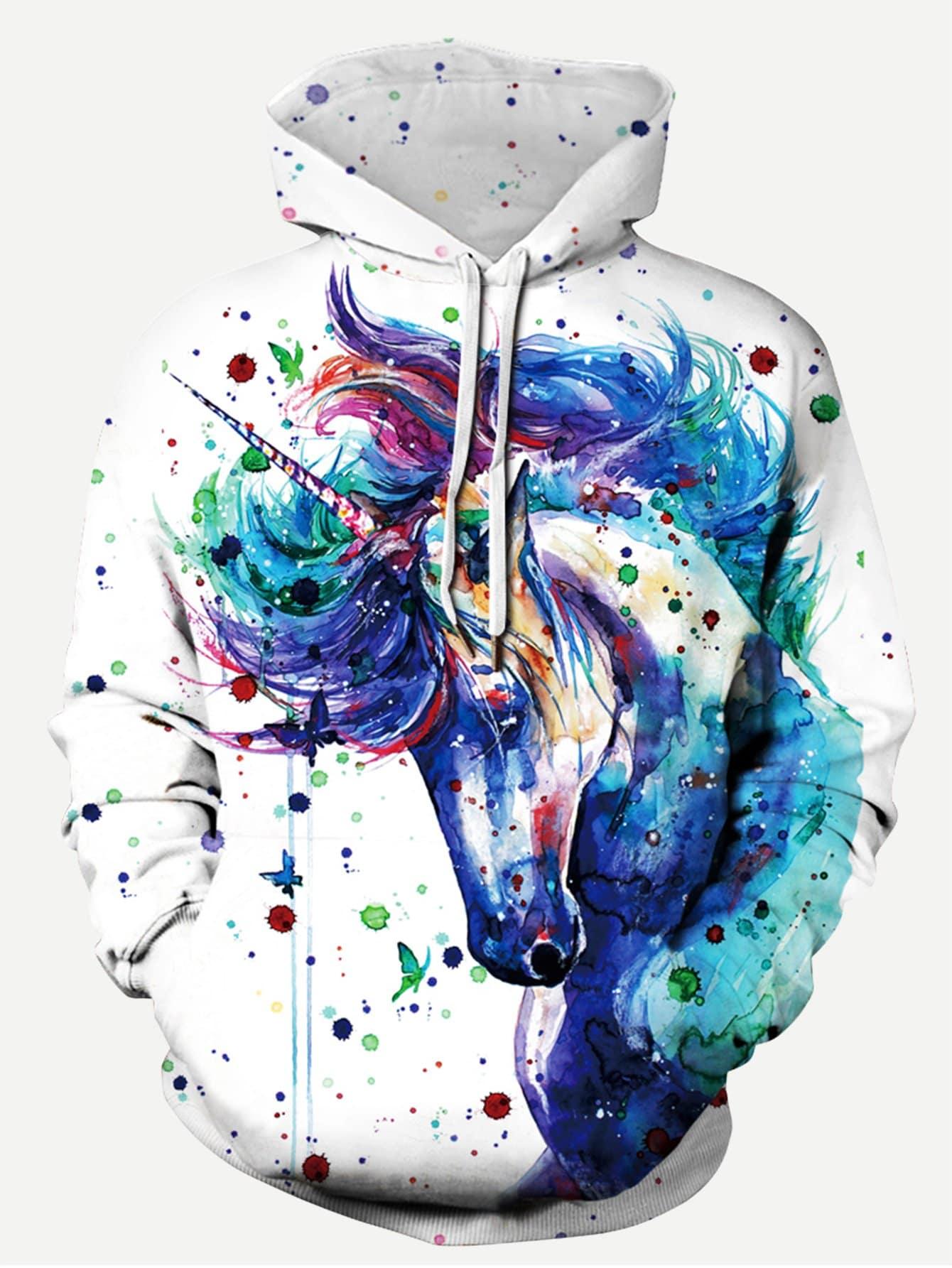 Men Painting Print Hooded Sweatshirt Men Painting Print Hooded Sweatshirt