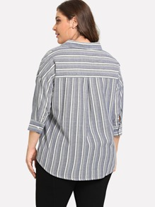 3535ab8b85ddee Cheap Plus Pocket Patched Striped Curved Hem Blouse for sale Australia |  SHEIN